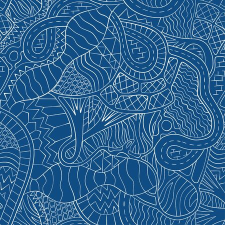Organism system. Abstract seamless pattern. Vector. Biological creative background. Classic blue Çizim