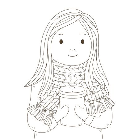 Young happy girl in a knitted scarf with cup of hot coffee or tea. Coffee to go. Character. Hand draw card. Vector illustration in cartoon style. 向量圖像