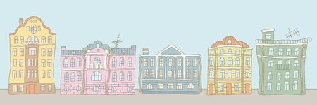 Buildings in the old town and sky. City street. Colorful vector illustration in doodle and cartoon style for card, poster, banner and other