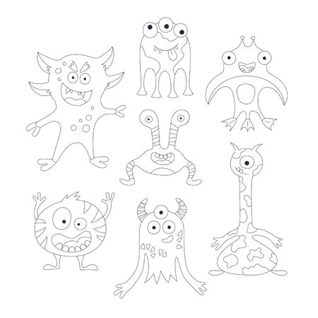 Funny monsters. Set of elements in cartoon style. Outline vector illustration. Black and white