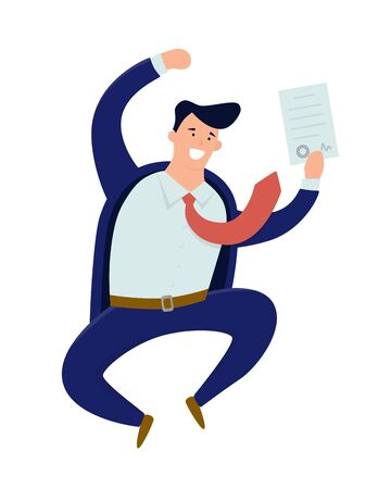 Happy businessman signed a contract. Jumping man. Vector illustration in cartoon and flat style 向量圖像
