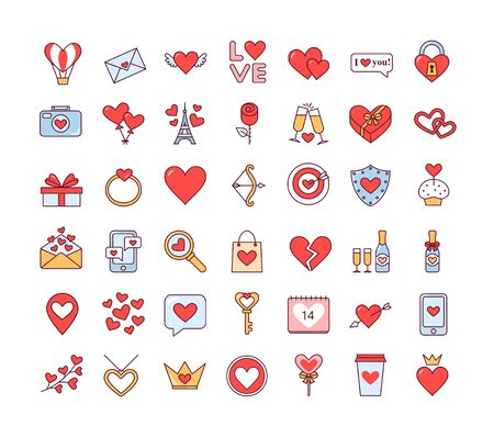 Valentines day. Love. February 14. Set of cute isolated icons on white background. Vector illustration 向量圖像