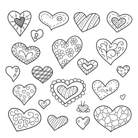 Set of isolated heart for valentines day. Love. February 14. Vector illustration on white background 向量圖像