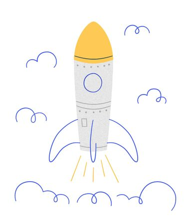 Rocket launch. Symbol of successful start. Vector illustration in doodle style with texture