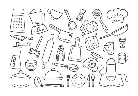 Kitchen tools and tableware. Cook. Hand drawn set of elements. Vector illustration in doodle style