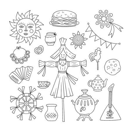 Maslenitsa. Pancake week elements - pancake, samovar, candy, balalaika, sun, scarecrow of winter, sour cream, accordion. Shrovetide. Vector illustration on doodle style on white background. No expand
