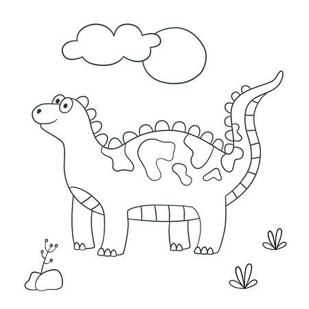 Cute dinosaur. Dino. Vector illustration in doodle and cartoon style for coloring books and prints. Hand drawn. Black and white