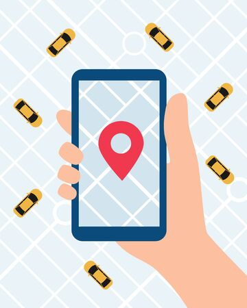 Online Taxi service app. Hand with smartphone and taxi application on city map background. Vector illustration in flat style 向量圖像