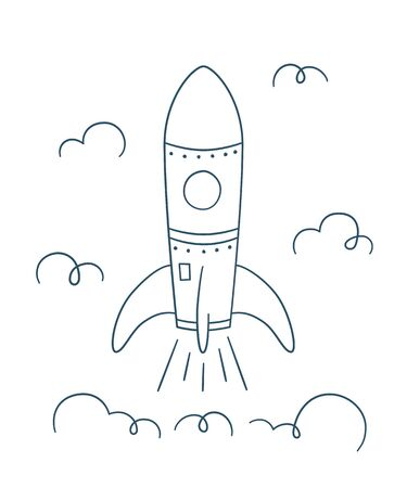 Rocket launch. Symbol of successful start. Vector illustration in doodle style on white background. Outline