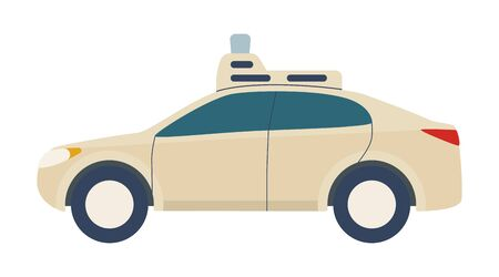 Driverless Car, autonomous vehicle, auto with autopilot. Vector illustration in flat style isolated on white background