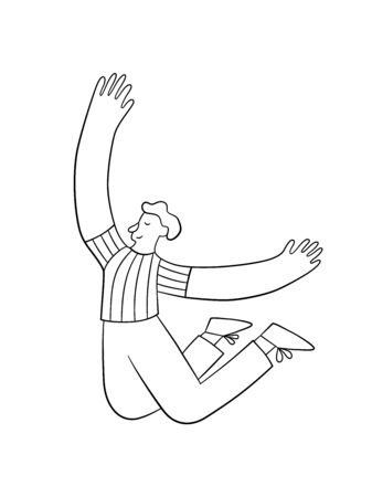 Happy positive man jumping in the air with raised hands. Trendy people. Vector illustration in doodle style on white background. Isolated Banque d'images - 138453056