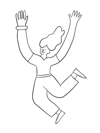 Cheerful positive girl jumping in the air with raised hands. Trendy woman. Vector illustration in doodle style on white background. Isolated