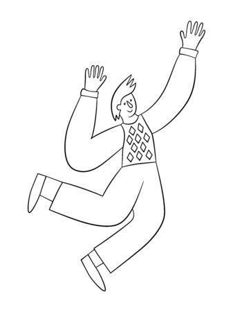Cheerful positive man jumping in the air with raised hands. Trendy people. Vector illustration in doodle style on white background. Isolated