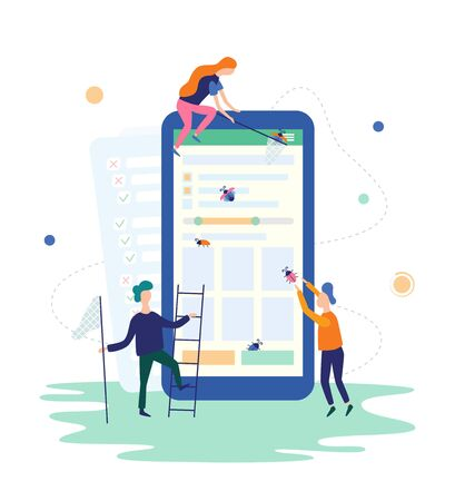 People catching bugs on the mobile app. IT software application testing, quality assurance, QA team and bug fixing concept. Vector illustration in flat style on white background Vector Illustration