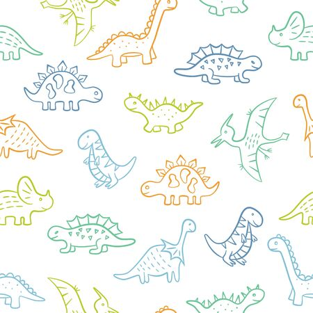 Cute doodle Dinosaurs. Dino colorful seamless pattern. Hand drawn vector illustration on white background