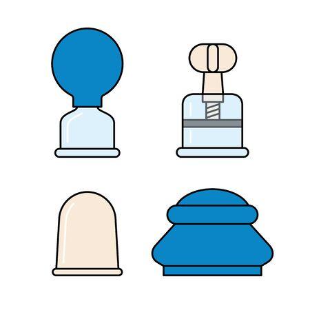 Vakuum Silikon, Glasdosen mit Gummiball und mit Schraube. Massagegläser für Gesicht und Körper. Medizinische Anticellulite-Becher. Satz von Vektorillustrationen im linearen Stil. Isoliert auf weißem Hintergrund Vektorgrafik
