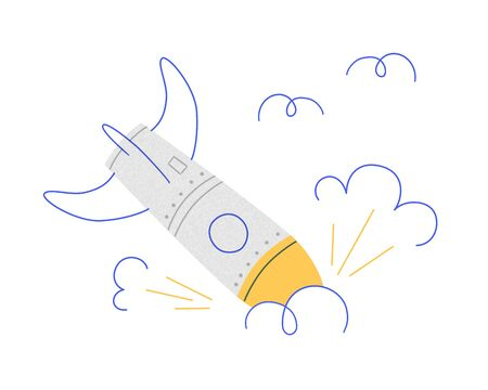 Broken rocket. The explosion of the spacecraft. Symbol of site errors, Unsuccessful start, business failure, negative scenario. Vector illustration in doodle style with texture