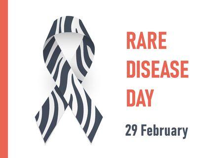 Rare disease day. 29 febrary. Zebra - print ribbon awareness, Ehlers-Danlos syndrome. Vector illustration on white background Vektoros illusztráció