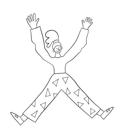 Glückliche positive Frau, die mit erhobenen Händen in die Luft springt. Trendiges Mädchen. Vektor-Illustration im Doodle-Stil auf weißem Hintergrund. Isoliert