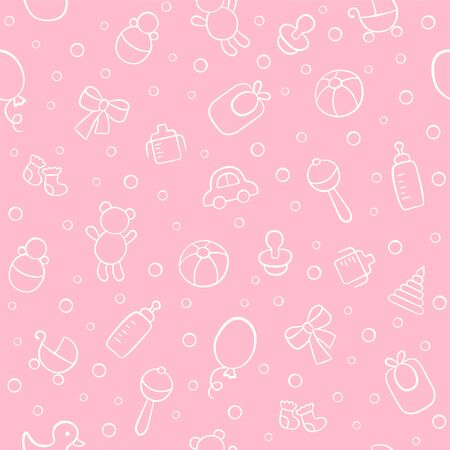 Baby cute seamless pattern. Pink girl texture. Kid background. Vector illustration in doodle style. Illusztráció