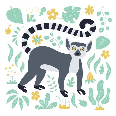 Cute funny ring-tailed lemur and tropical plant. Madagascar exotic Lemur catta. Vector illustration in flat and cartoon style on white background