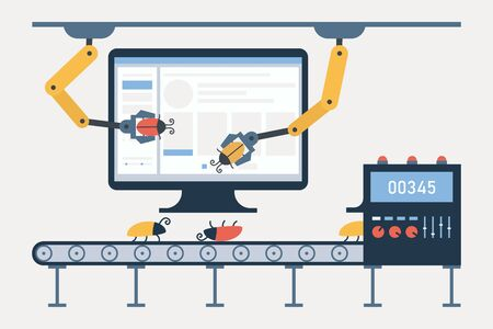 Automated testing, automotive executed test, software auto tester concept. Debugging, quality assurance. Computer, conveyor for bugs, robot arms and defect tracking system. Vector illustration