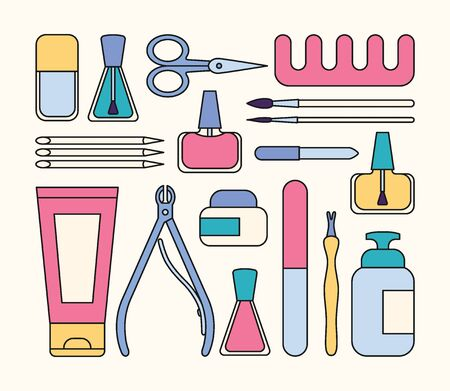 Manicure tools and accessories. A set of elements on the topic of nail manicure. Vector illustration in flat minimal style