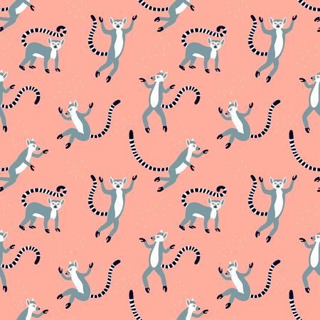 Exotic lemurs with long striped tails. Vector seamless pattern design. Cute animals isolated on the pink textured background Stock Illustratie