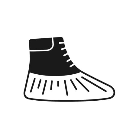 Shoe covers icon. Protective medical covers. Isolated sign. Vector illustration in black style on white background