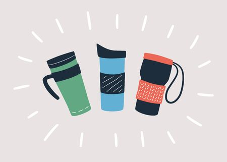 Reusable cups, thermo mug and tumblers with cover for take away hot coffee or tea. Hand drawn object isolated on light background. Vector illustration