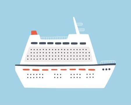 A large sea cruise ship. Travel on an ocean liner. Isolated hand drawn vector illustration on blue background  イラスト・ベクター素材