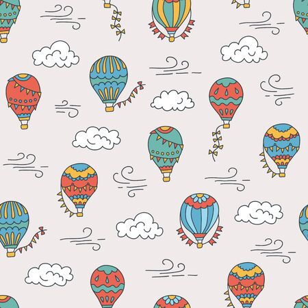 Hot air balloons and clouds. Color hand drawn seamless pattern. Vector illustration in doodle style Illustration