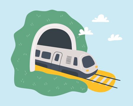 High-speed train leaves the tunnel. Travelling by rail. Hand drawn cartoon vector illustration