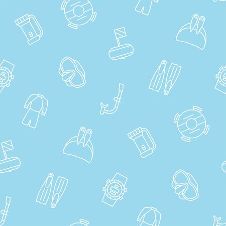 Free diving seamless pattern. Flippers, mask, wetsuit, monofin and other diving equipment. Vector illustration on blue background