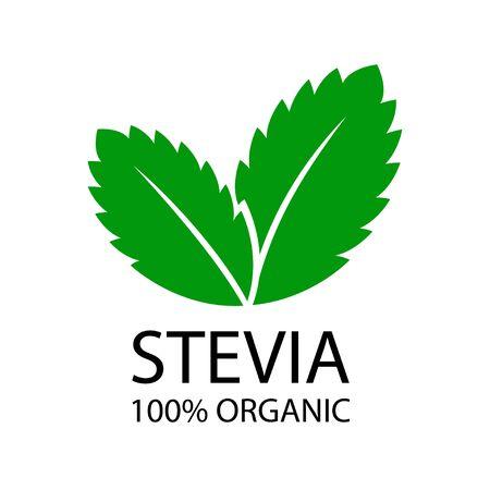 Stevia leaves logo. Natural organic stevia sweetener icon. Vector illustration on white background
