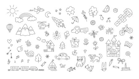 A set of children drawings. Kid doodle. Sun and rainbow over the mountains, knight castle, the boat on the waves and other objects. Vector illustration. Editable stroke