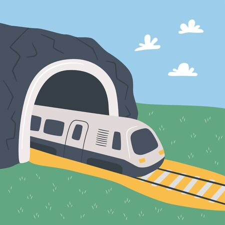 High-speed train and mountain tunnel. Hand drawn vector illustration on the theme of travel and transport