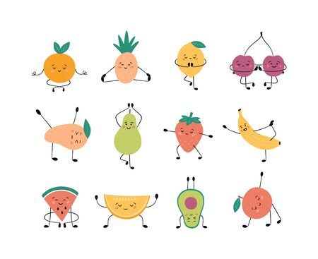 Cute fruits and berries in yoga pose. Apple, banana, pear and other fruits practicing yoga and meditates. Funny vector cartoon characters isolated on white background 向量圖像