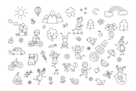 Happy children in summer park. Funny small kids play, run and jump. Set of elements in childish doodle style. Hand drawn vector illustration