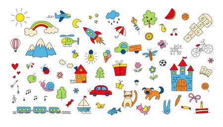 Big set of children drawings. Hand drawn kid doodle. Sun and rainbow over the mountains, knight castle, train and plane and other objects. Colorful vector illustration