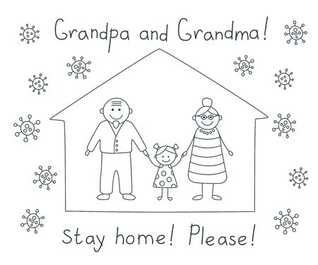 Grandma and grandpa stay home please during the coronavirus epidemic. Grandparents staying at home in self quarantine, protection from corona virus. Agitational children drawing for seniors. Vector
