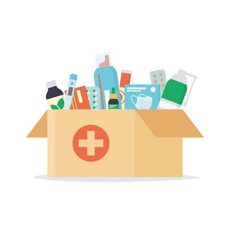 Open cardboard box with a set of drugs, pills and bottles inside. Home delivery pharmacy service. Illustration in flat style n white background Vectores