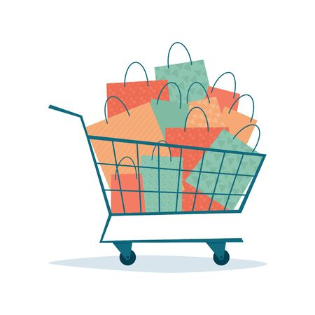 Overflowing shopping cart with paper bags. Symbol of sales and discounts. Black friday. Vector illustration in flat style on white background