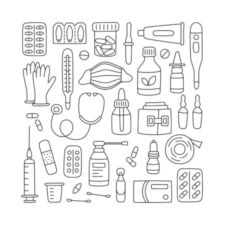 Set of hand drawn medications, drugs, pills and health care medical elements. Vector illustration in doodle style on white background. Editable stroke Çizim