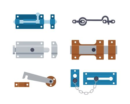 Set of metal gate latchs, door bolts, hooks and chain. Steel safety hardware. Vector illustration in flat style on white background.