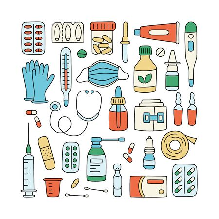 Meds, drugs, pills, bottles and health care medical elements. Color vector illustration in doodle style on white background. Editable stroke Фото со стока - 147428748