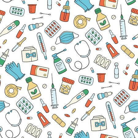 Meds, drugs, pills, bottles and health care medical elements. Color seamless pattern. Vector illustration in doodle style on white background