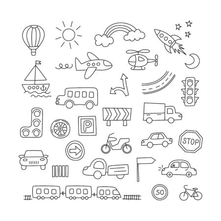 Children drawing of cars, train, plane, helicopter and rocket. Doodle transport. Set of elements in childish style. Hand drawn vector illustration on white background