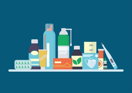 Drugs, pills, drops and tincture bottles are on the shelf. Medicines for the treatment of the cold, virus and flu. Vector illustration in flat style on dark blue background