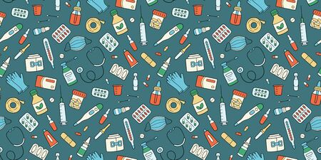 Meds, drugs, pills, bottles and health care medical elements. Color seamless pattern. Vector illustration in doodle style on dark background Фото со стока - 148406592